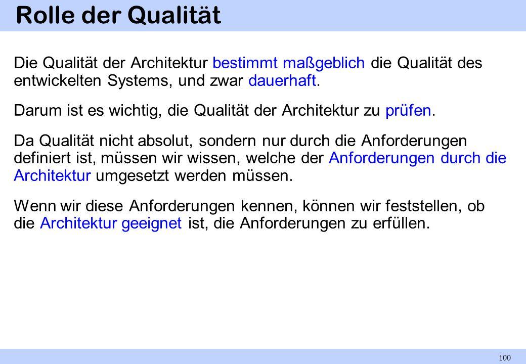 Rolle der Qualität Die Qualität der Architektur bestimmt maßgeblich die Qualität des entwickelten Systems, und zwar dauerhaft. Darum ist es wichtig, d