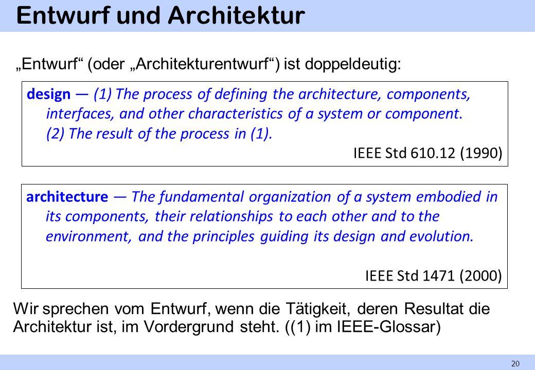Entwurf und Architektur Wir sprechen vom Entwurf, wenn die Tätigkeit, deren Resultat die Architektur ist, im Vordergrund steht. ((1) im IEEE-Glossar)