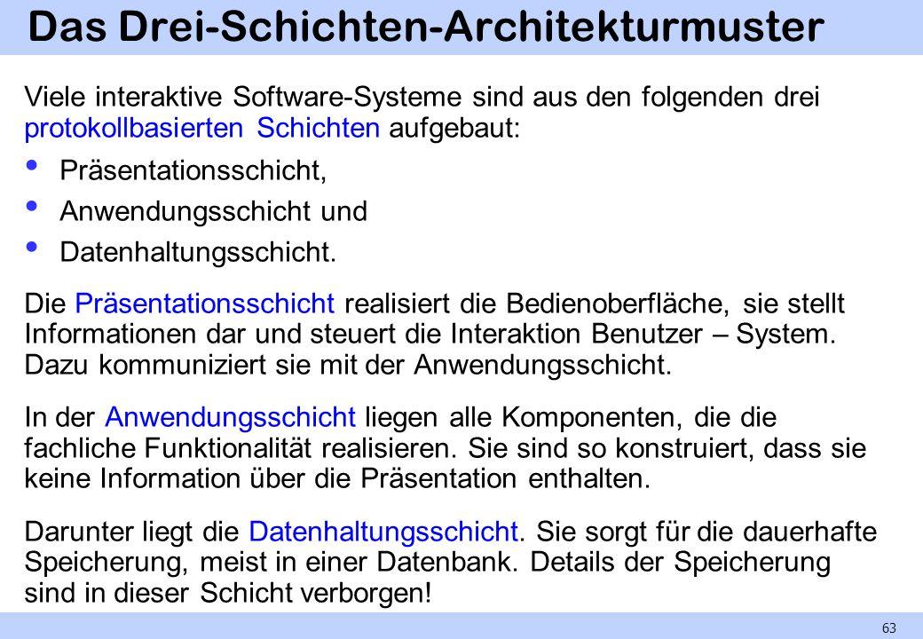 Das Drei-Schichten-Architekturmuster Viele interaktive Software-Systeme sind aus den folgenden drei protokollbasierten Schichten aufgebaut: Präsentationsschicht, Anwendungsschicht und Datenhaltungsschicht.