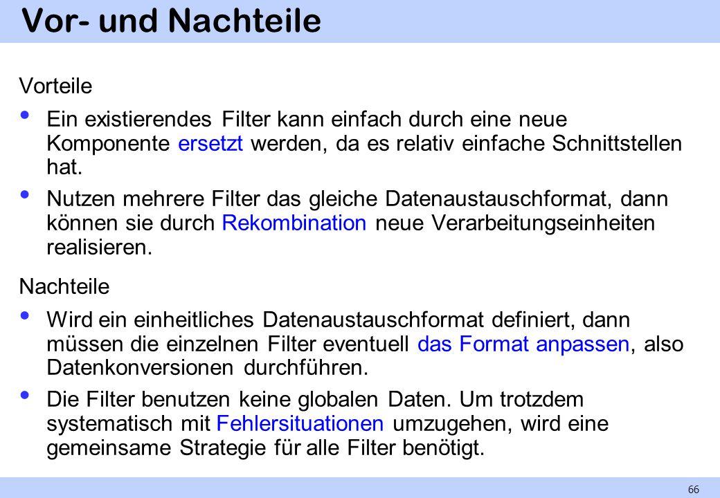 Vor- und Nachteile Vorteile Ein existierendes Filter kann einfach durch eine neue Komponente ersetzt werden, da es relativ einfache Schnittstellen hat.