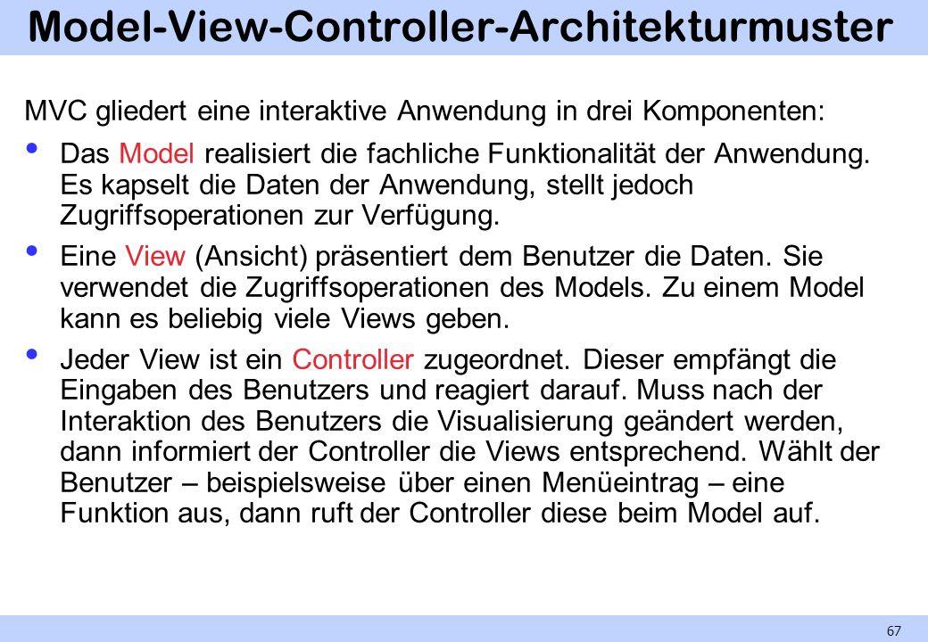 Model-View-Controller-Architekturmuster MVC gliedert eine interaktive Anwendung in drei Komponenten: Das Model realisiert die fachliche Funktionalität der Anwendung.