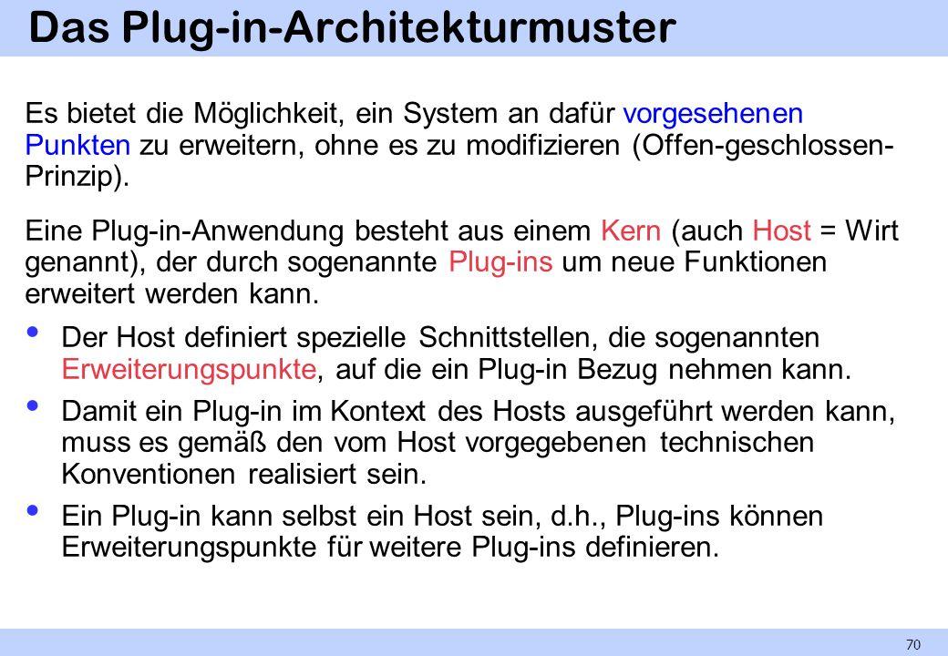Das Plug-in-Architekturmuster Es bietet die Möglichkeit, ein System an dafür vorgesehenen Punkten zu erweitern, ohne es zu modifizieren (Offen-geschlossen- Prinzip).