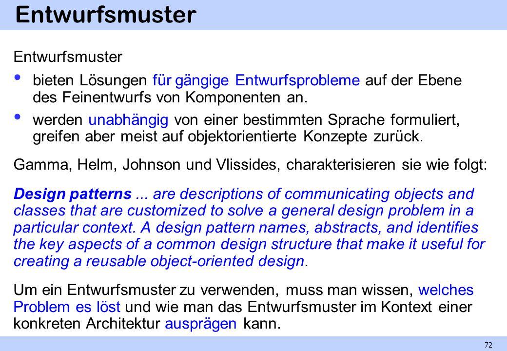 Entwurfsmuster bieten Lösungen für gängige Entwurfsprobleme auf der Ebene des Feinentwurfs von Komponenten an. werden unabhängig von einer bestimmten