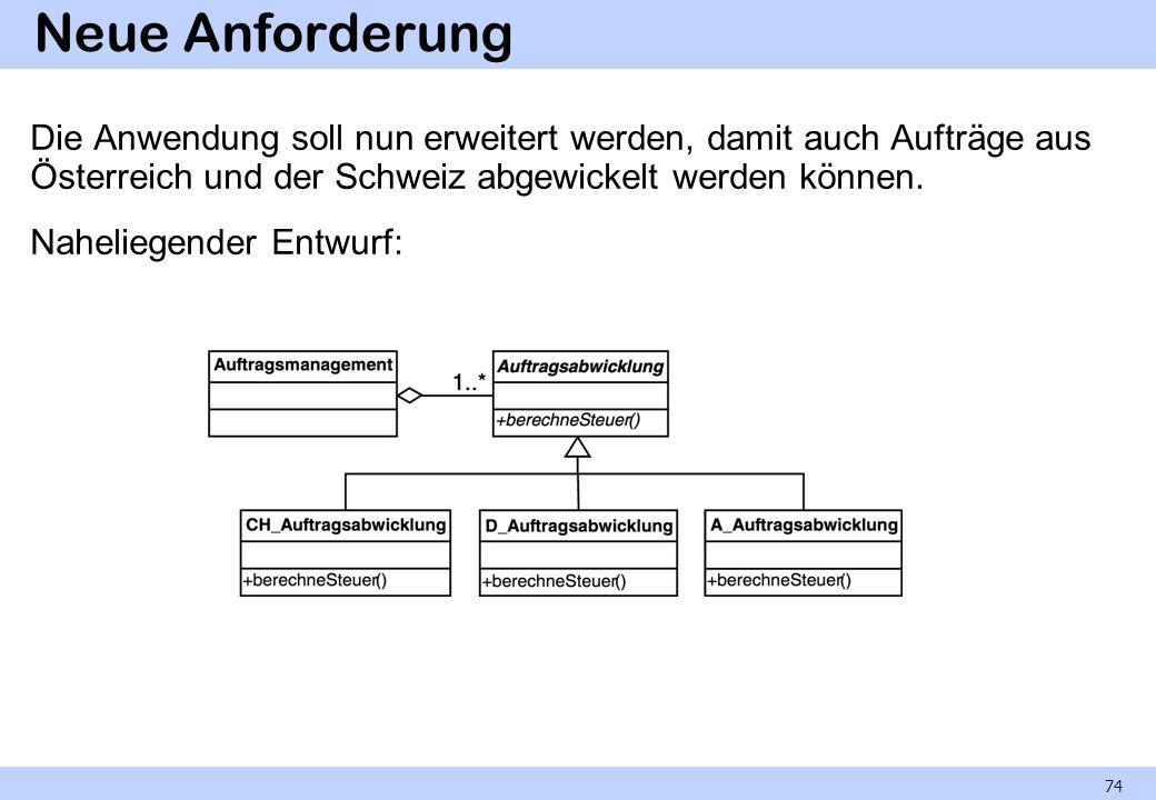 Neue Anforderung Die Anwendung soll nun erweitert werden, damit auch Aufträge aus Österreich und der Schweiz abgewickelt werden können.