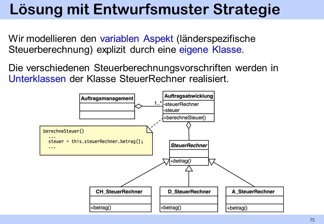 Lösung mit Entwurfsmuster Strategie Wir modellieren den variablen Aspekt (länderspezifische Steuerberechnung) explizit durch eine eigene Klasse. Die v