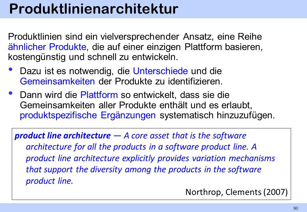 Produktlinienarchitektur Produktlinien sind ein vielversprechender Ansatz, eine Reihe ähnlicher Produkte, die auf einer einzigen Plattform basieren, kostengünstig und schnell zu entwickeln.