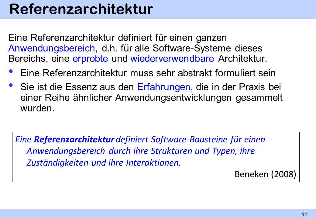 Referenzarchitektur Eine Referenzarchitektur definiert für einen ganzen Anwendungsbereich, d.h. für alle Software-Systeme dieses Bereichs, eine erprob