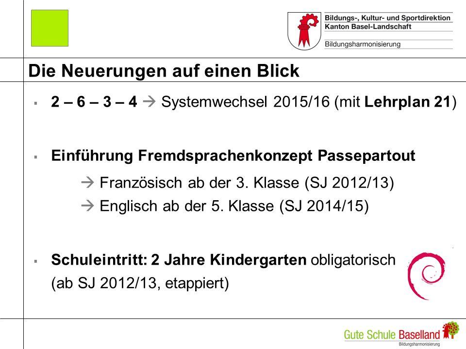 Die Neuerungen auf einen Blick 2 – 6 – 3 – 4 Systemwechsel 2015/16 (mit Lehrplan 21) Einführung Fremdsprachenkonzept Passepartout Französisch ab der 3