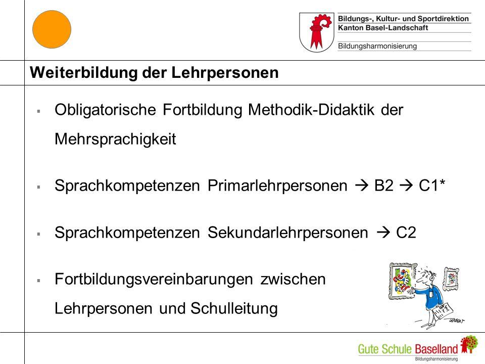 Weiterbildung der Lehrpersonen Obligatorische Fortbildung Methodik-Didaktik der Mehrsprachigkeit Sprachkompetenzen Primarlehrpersonen B2 C1* Sprachkom