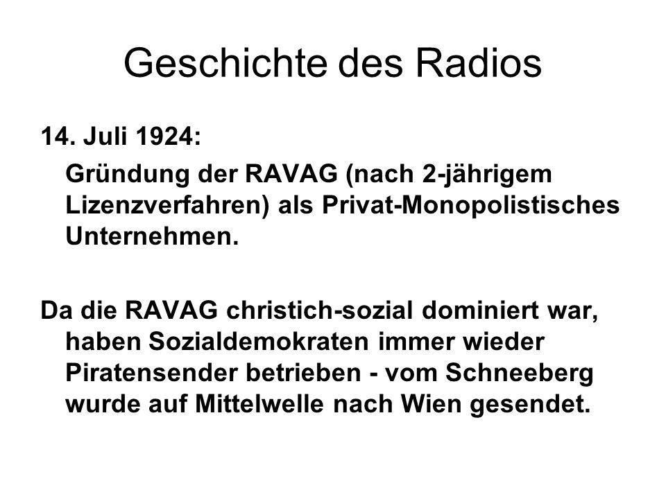 Geschichte des Radios 14. Juli 1924: Gründung der RAVAG (nach 2-jährigem Lizenzverfahren) als Privat-Monopolistisches Unternehmen. Da die RAVAG christ