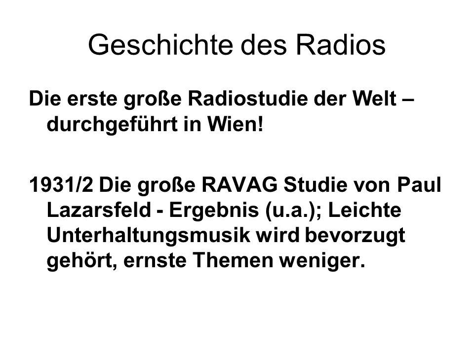 Geschichte des Radios Die erste große Radiostudie der Welt – durchgeführt in Wien! 1931/2 Die große RAVAG Studie von Paul Lazarsfeld - Ergebnis (u.a.)