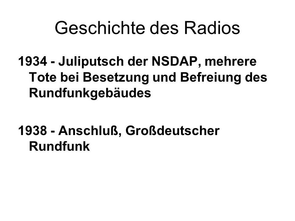 Geschichte des Radios 1934 - Juliputsch der NSDAP, mehrere Tote bei Besetzung und Befreiung des Rundfunkgebäudes 1938 - Anschluß, Großdeutscher Rundfu