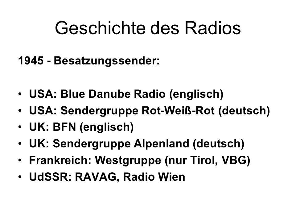Geschichte des Radios 1945 - Besatzungssender: USA: Blue Danube Radio (englisch) USA: Sendergruppe Rot-Weiß-Rot (deutsch) UK: BFN (englisch) UK: Sende
