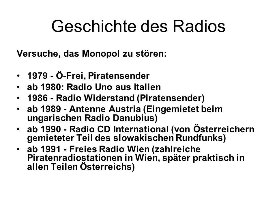 Geschichte des Radios Versuche, das Monopol zu stören: 1979 - Ö-Frei, Piratensender ab 1980: Radio Uno aus Italien 1986 - Radio Widerstand (Piratensen