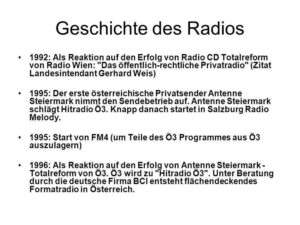 Geschichte des Radios 1992: Als Reaktion auf den Erfolg von Radio CD Totalreform von Radio Wien: