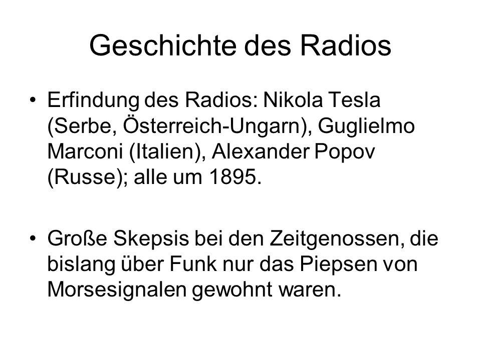Erfindung des Radios: Nikola Tesla (Serbe, Österreich-Ungarn), Guglielmo Marconi (Italien), Alexander Popov (Russe); alle um 1895. Große Skepsis bei d