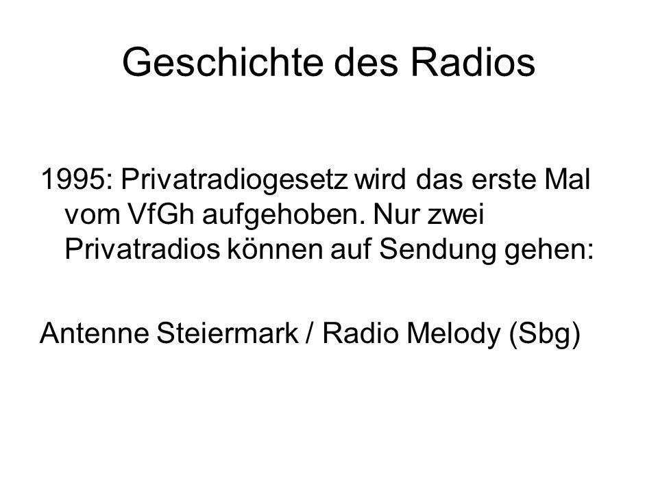 Geschichte des Radios 1995: Privatradiogesetz wird das erste Mal vom VfGh aufgehoben. Nur zwei Privatradios können auf Sendung gehen: Antenne Steierma