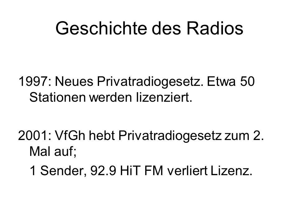 Geschichte des Radios 1997: Neues Privatradiogesetz. Etwa 50 Stationen werden lizenziert. 2001: VfGh hebt Privatradiogesetz zum 2. Mal auf; 1 Sender,
