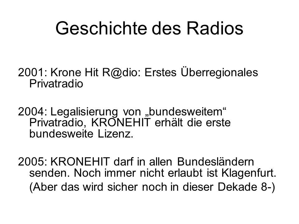 Geschichte des Radios 2001: Krone Hit R@dio: Erstes Überregionales Privatradio 2004: Legalisierung von bundesweitem Privatradio, KRONEHIT erhält die e