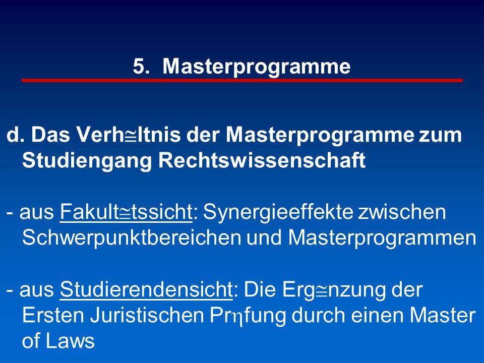 5. Masterprogramme d. Das Verh@ltnis der Masterprogramme zum Studiengang Rechtswissenschaft - aus Fakult@tssicht: Synergieeffekte zwischen Schwerpunkt