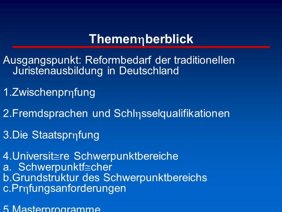 Themenhberblick Ausgangspunkt: Reformbedarf der traditionellen Juristenausbildung in Deutschland 1.Zwischenprhfung 2.Fremdsprachen und Schlhsselqualif