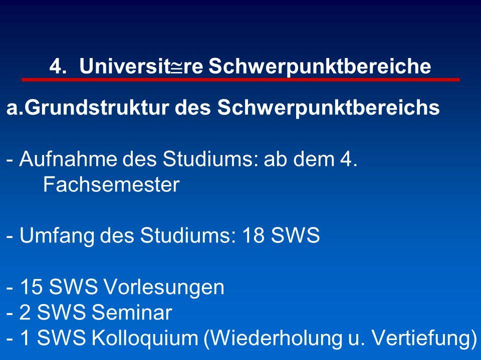 4. Universit@re Schwerpunktbereiche a.Grundstruktur des Schwerpunktbereichs - Aufnahme des Studiums: ab dem 4. Fachsemester - Umfang des Studiums: 18