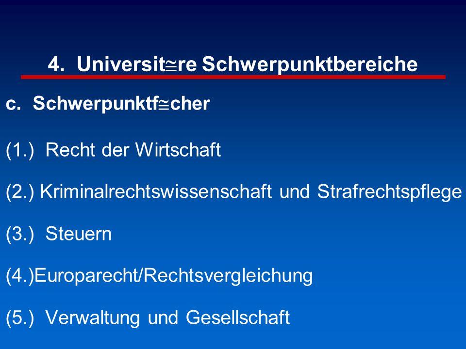 4. Universit@re Schwerpunktbereiche c. Schwerpunktf@cher (1.) Recht der Wirtschaft (2.) Kriminalrechtswissenschaft und Strafrechtspflege (3.) Steuern
