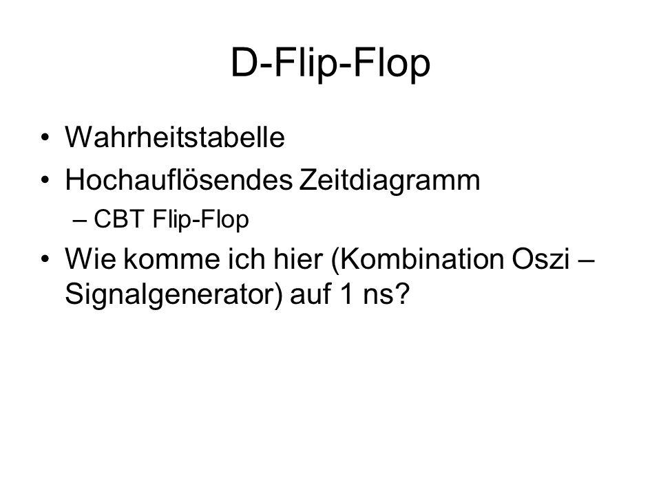 D-Flip-Flop Wahrheitstabelle Hochauflösendes Zeitdiagramm –CBT Flip-Flop Wie komme ich hier (Kombination Oszi – Signalgenerator) auf 1 ns