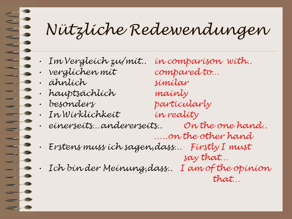 Nützliche Redewendungen Im Vergleich zu/mit..in comparison with..