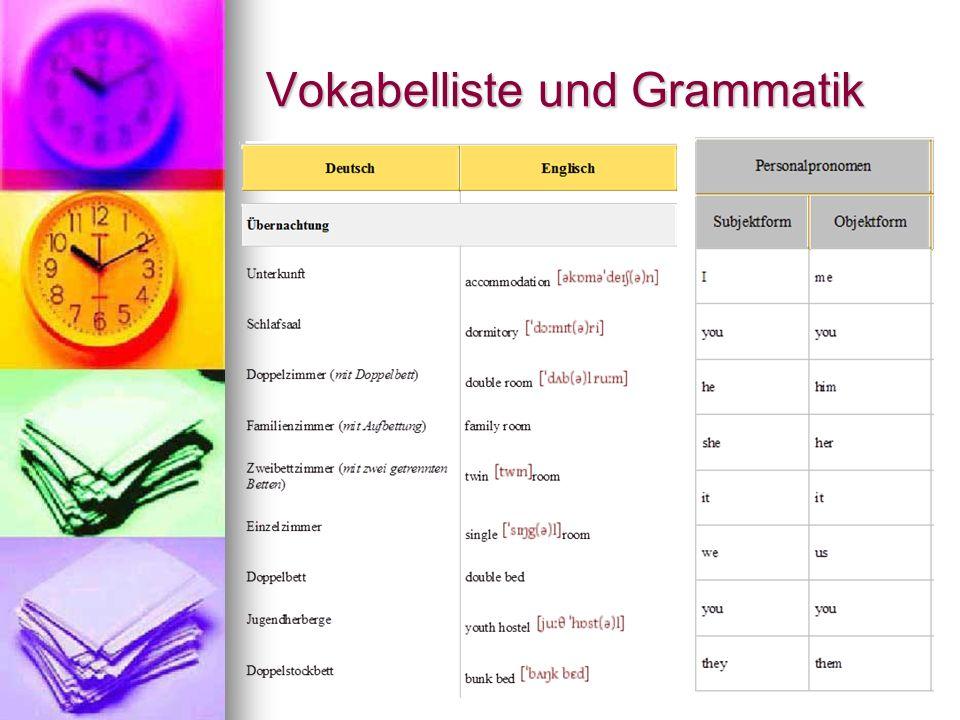 Vokabelliste und Grammatik