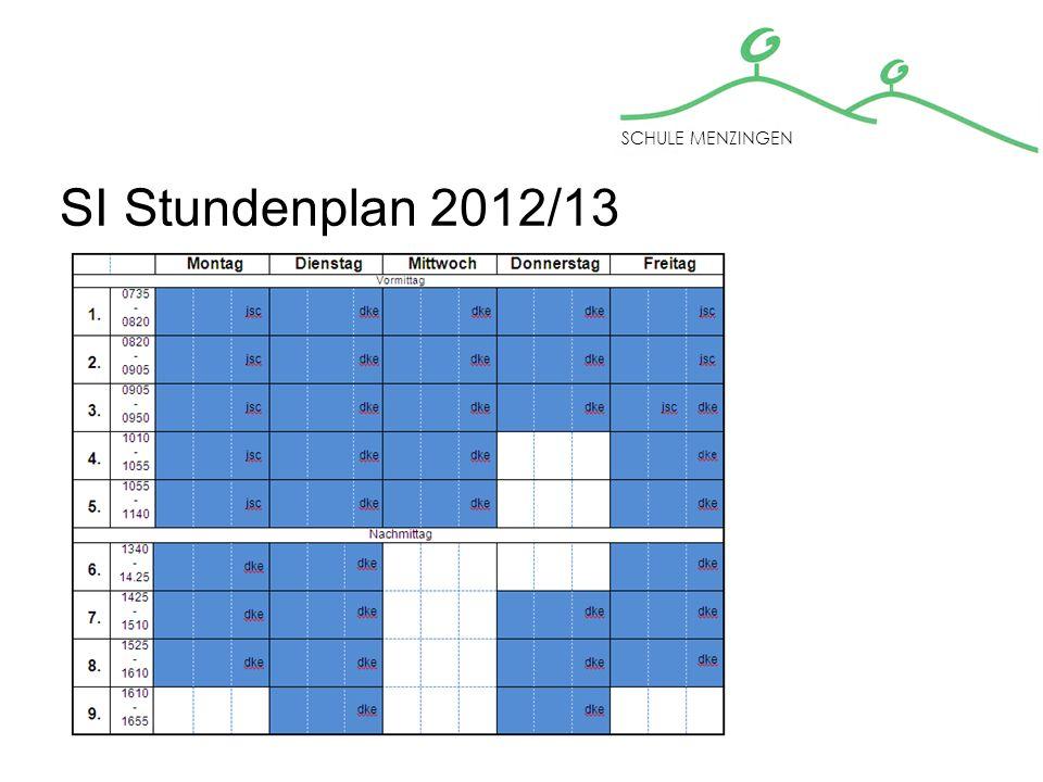 SI Stundenplan 2012/13 SCHULE MENZINGEN