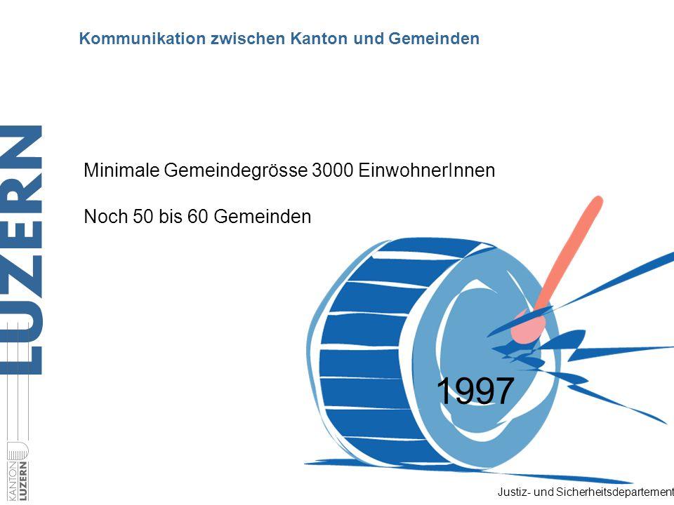 Justiz- und Sicherheitsdepartement Kommunikation zwischen Kanton und Gemeinden Minimale Gemeindegrösse 3000 EinwohnerInnen Noch 50 bis 60 Gemeinden 1997