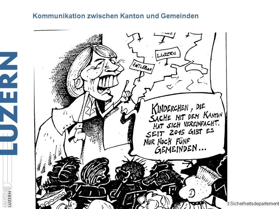 Justiz- und Sicherheitsdepartement Situation 1997 107 Gemeinden 8 Gemeindevereine Sie alle kommunizierten mit dem Kanton Kommunikation zwischen Kanton und Gemeinden
