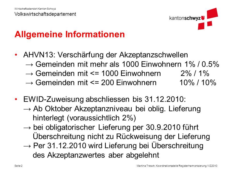 Volkswirtschaftsdepartement Wirtschaftsstandort Kanton Schwyz Seite 3Martina Tresch, Koordinationsstelle Registerharmonisierung / VZ2010 Empfehlung BFS: Oblig.