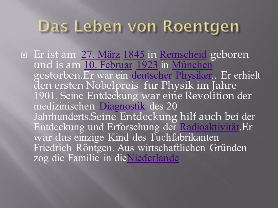 Er ist am 27. März 1845 in Remscheid geboren und is am 10. Februar 1923 in München gestorben.Er war ein deutscher Physiker.. Er erhielt den ersten Nob