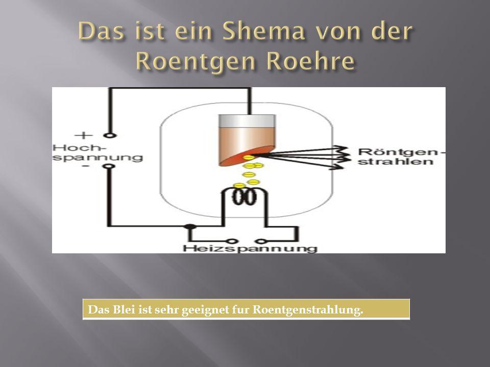 Das Blei ist sehr geeignet fur Roentgenstrahlung.