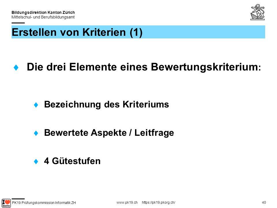 PK19 Prüfungskommission Informatik ZH www.pk19.ch https://pk19.pkorg.ch/ Bildungsdirektion Kanton Zürich Mittelschul- und Berufsbildungsamt 40 Erstellen von Kriterien (1) Die drei Elemente eines Bewertungskriterium : Bezeichnung des Kriteriums Bewertete Aspekte / Leitfrage 4 Gütestufen