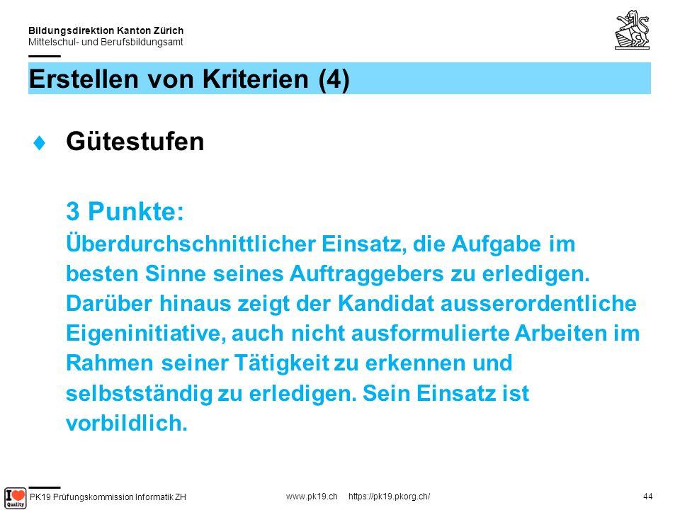 PK19 Prüfungskommission Informatik ZH www.pk19.ch https://pk19.pkorg.ch/ Bildungsdirektion Kanton Zürich Mittelschul- und Berufsbildungsamt 44 Erstellen von Kriterien (4) Gütestufen 3 Punkte: Überdurchschnittlicher Einsatz, die Aufgabe im besten Sinne seines Auftraggebers zu erledigen.