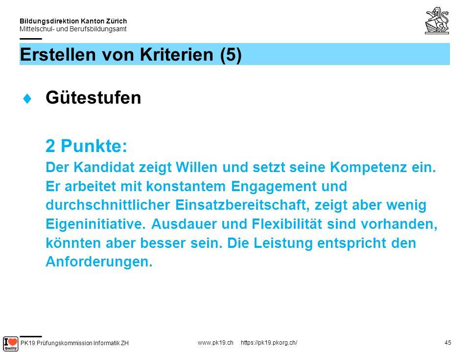 PK19 Prüfungskommission Informatik ZH www.pk19.ch https://pk19.pkorg.ch/ Bildungsdirektion Kanton Zürich Mittelschul- und Berufsbildungsamt 45 Erstellen von Kriterien (5) Gütestufen 2 Punkte: Der Kandidat zeigt Willen und setzt seine Kompetenz ein.