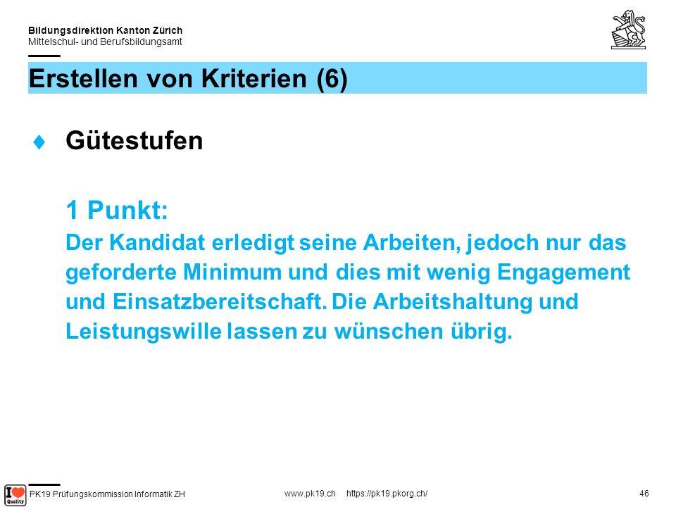 PK19 Prüfungskommission Informatik ZH www.pk19.ch https://pk19.pkorg.ch/ Bildungsdirektion Kanton Zürich Mittelschul- und Berufsbildungsamt 46 Erstellen von Kriterien (6) Gütestufen 1 Punkt: Der Kandidat erledigt seine Arbeiten, jedoch nur das geforderte Minimum und dies mit wenig Engagement und Einsatzbereitschaft.
