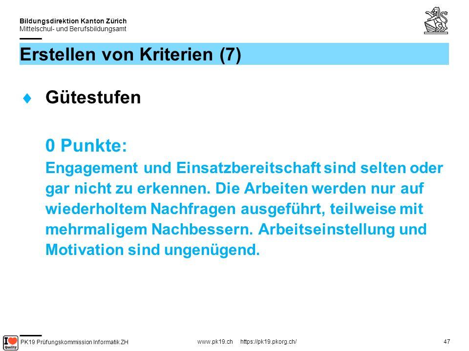 PK19 Prüfungskommission Informatik ZH www.pk19.ch https://pk19.pkorg.ch/ Bildungsdirektion Kanton Zürich Mittelschul- und Berufsbildungsamt 47 Erstellen von Kriterien (7) Gütestufen 0 Punkte: Engagement und Einsatzbereitschaft sind selten oder gar nicht zu erkennen.
