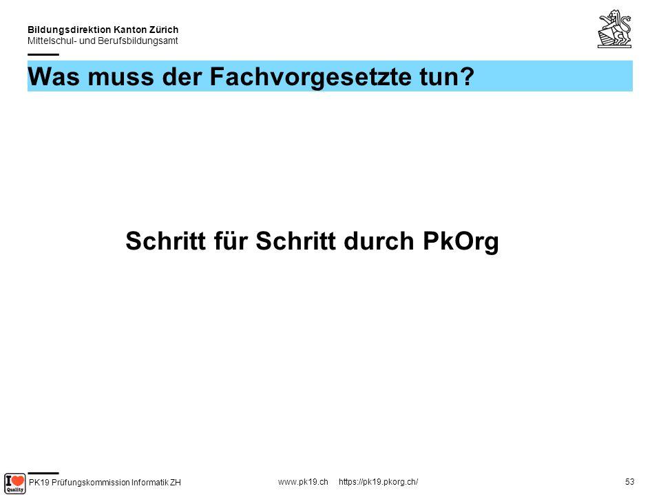 PK19 Prüfungskommission Informatik ZH www.pk19.ch https://pk19.pkorg.ch/ Bildungsdirektion Kanton Zürich Mittelschul- und Berufsbildungsamt 53 Was muss der Fachvorgesetzte tun.