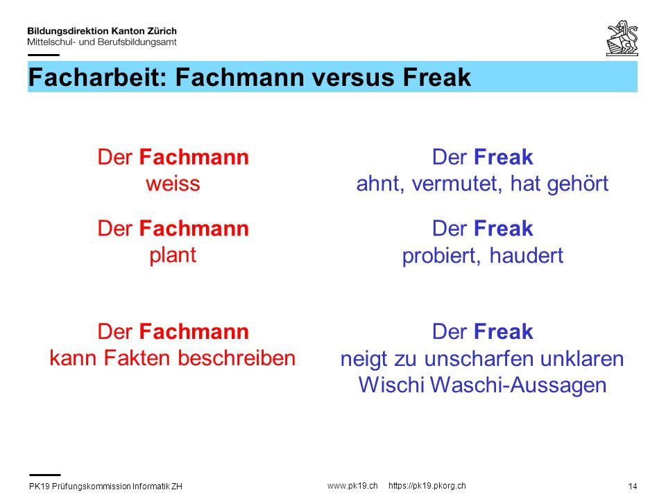 PK19 Prüfungskommission Informatik ZH www.pk19.ch https://pk19.pkorg.ch 14 Facharbeit: Fachmann versus Freak Der Fachmann weiss Der Freak ahnt, vermut