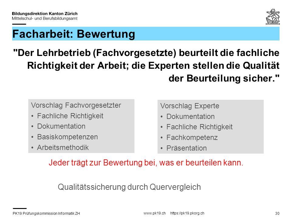 PK19 Prüfungskommission Informatik ZH www.pk19.ch https://pk19.pkorg.ch 30 Facharbeit: Bewertung
