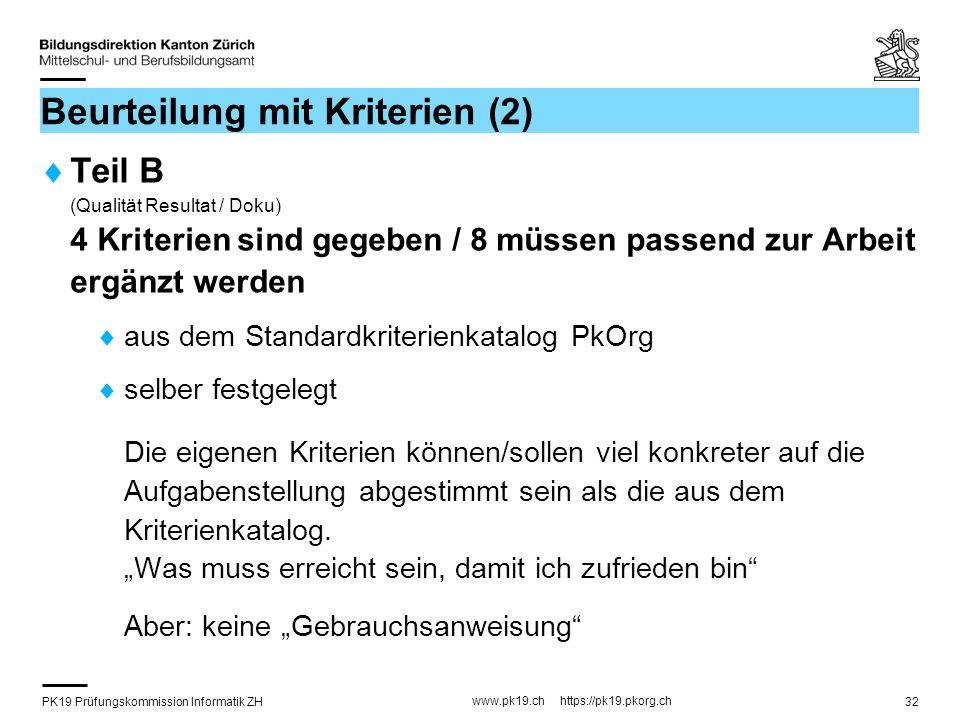 PK19 Prüfungskommission Informatik ZH www.pk19.ch https://pk19.pkorg.ch 32 Beurteilung mit Kriterien (2) Teil B (Qualität Resultat / Doku) 4 Kriterien