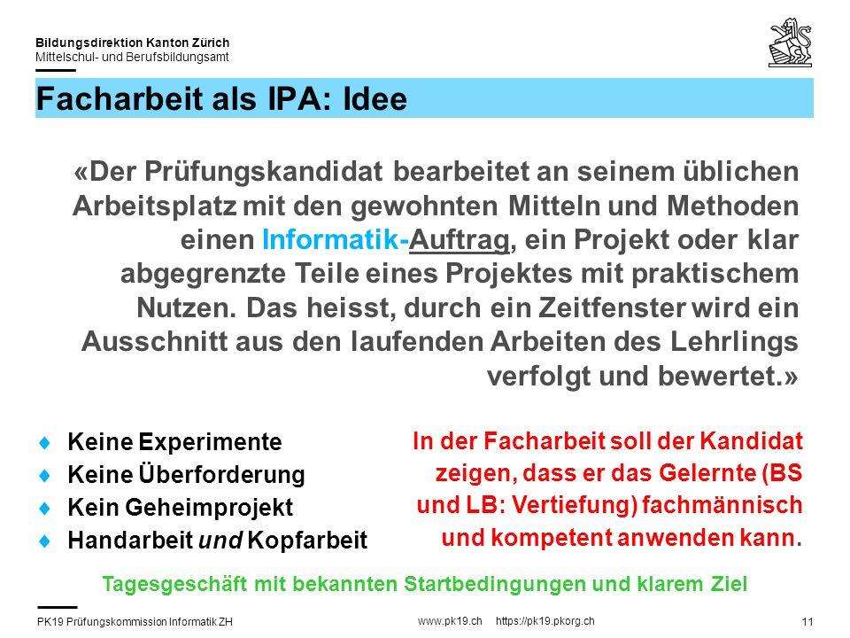 PK19 Prüfungskommission Informatik ZH www.pk19.ch https://pk19.pkorg.ch Bildungsdirektion Kanton Zürich Mittelschul- und Berufsbildungsamt 11 Facharbe