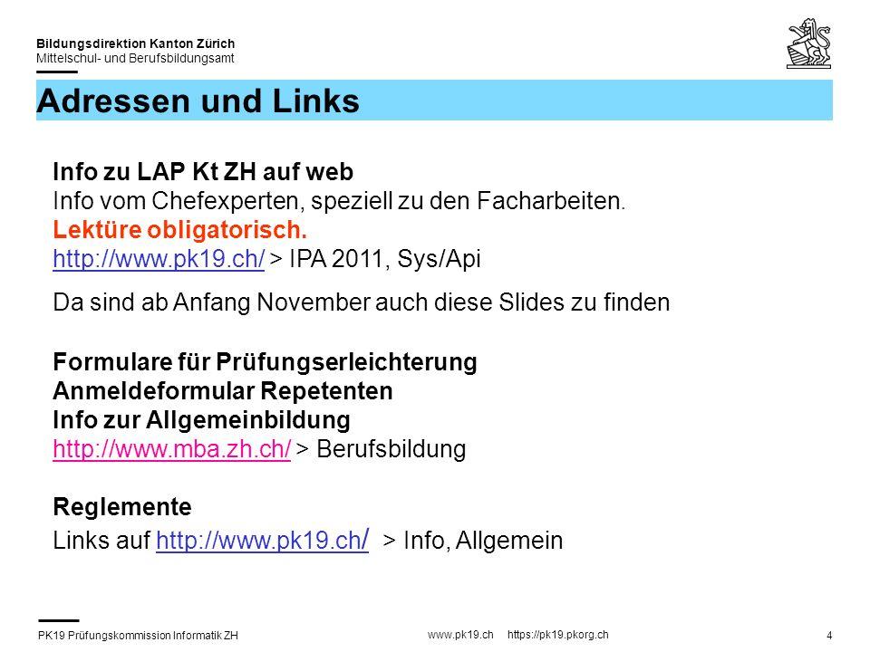 PK19 Prüfungskommission Informatik ZH www.pk19.ch https://pk19.pkorg.ch Bildungsdirektion Kanton Zürich Mittelschul- und Berufsbildungsamt 35 Aspekte Kriterien decken alle wesentlichen Aspekte ab und überlappen nur wenig Zeit Beurteilung der Kriterien (4) Kriterien