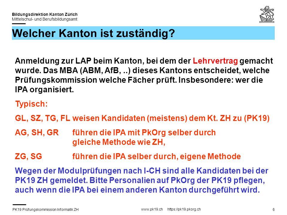 PK19 Prüfungskommission Informatik ZH www.pk19.ch https://pk19.pkorg.ch Bildungsdirektion Kanton Zürich Mittelschul- und Berufsbildungsamt 37 Beurteilung mit Kriterien (6) Mit dem Signieren akzeptiert der Kandidat nicht nur die Aufgabenstellung, sondern auch die Bewertungskriterien.