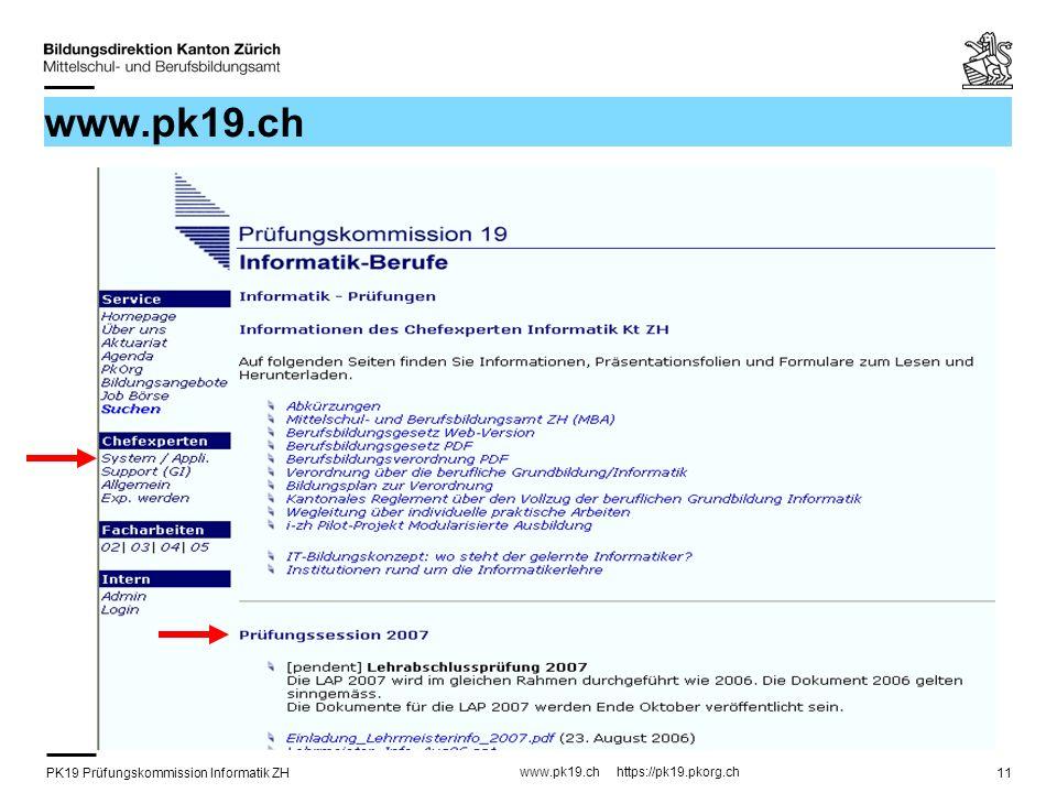 PK19 Prüfungskommission Informatik ZH www.pk19.ch https://pk19.pkorg.ch 11 www.pk19.ch