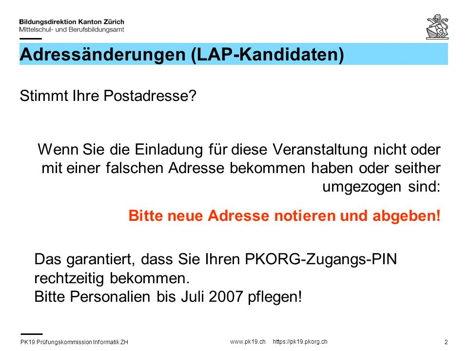 PK19 Prüfungskommission Informatik ZH www.pk19.ch https://pk19.pkorg.ch 23 Zeitplan LAP (2) für Kandidaten, welche die Facharbeit (IPA) unter der Leitung der PK19 ZH durchführen